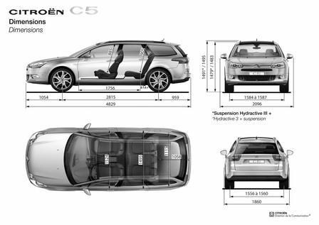 citroen c5 tourer 16v 2008 autokatalog ma e gewichte alle autos. Black Bedroom Furniture Sets. Home Design Ideas