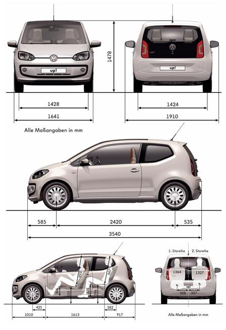 volkswagen up 1 0 2011 autokatalog ma e gewichte. Black Bedroom Furniture Sets. Home Design Ideas