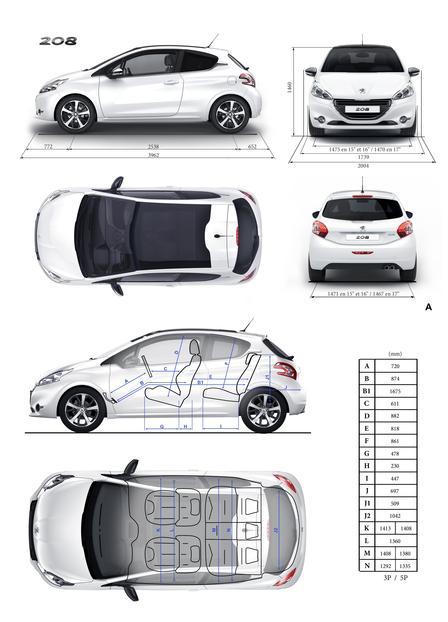 peugeot 208 1 4 vti 2012 autokatalog ma e gewichte alle autos. Black Bedroom Furniture Sets. Home Design Ideas