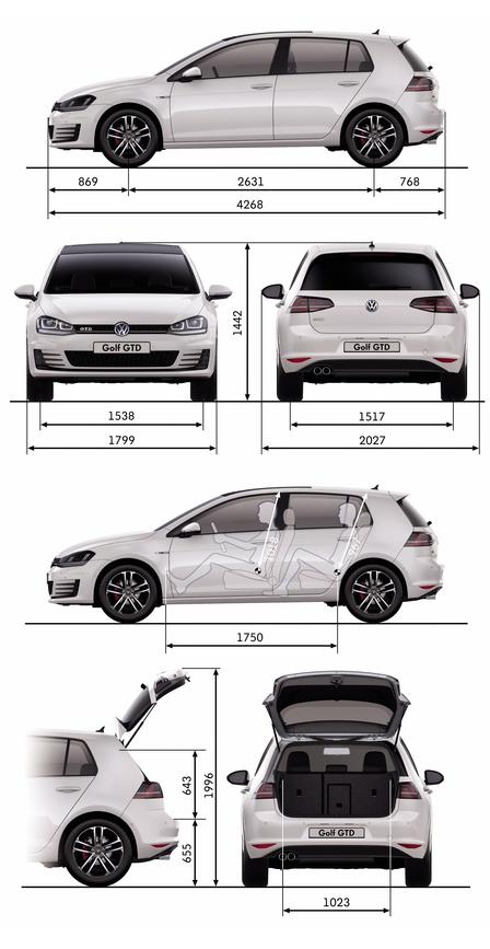 volkswagen golf gtd 2013 autokatalog ma e gewichte. Black Bedroom Furniture Sets. Home Design Ideas