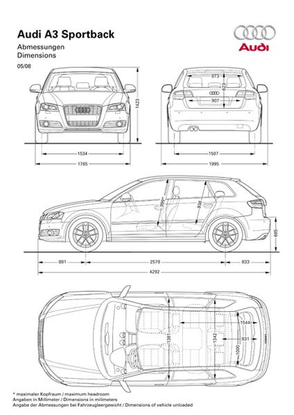 audi a3 sportback 1 6 tdi 2009 autokatalog ma e und. Black Bedroom Furniture Sets. Home Design Ideas